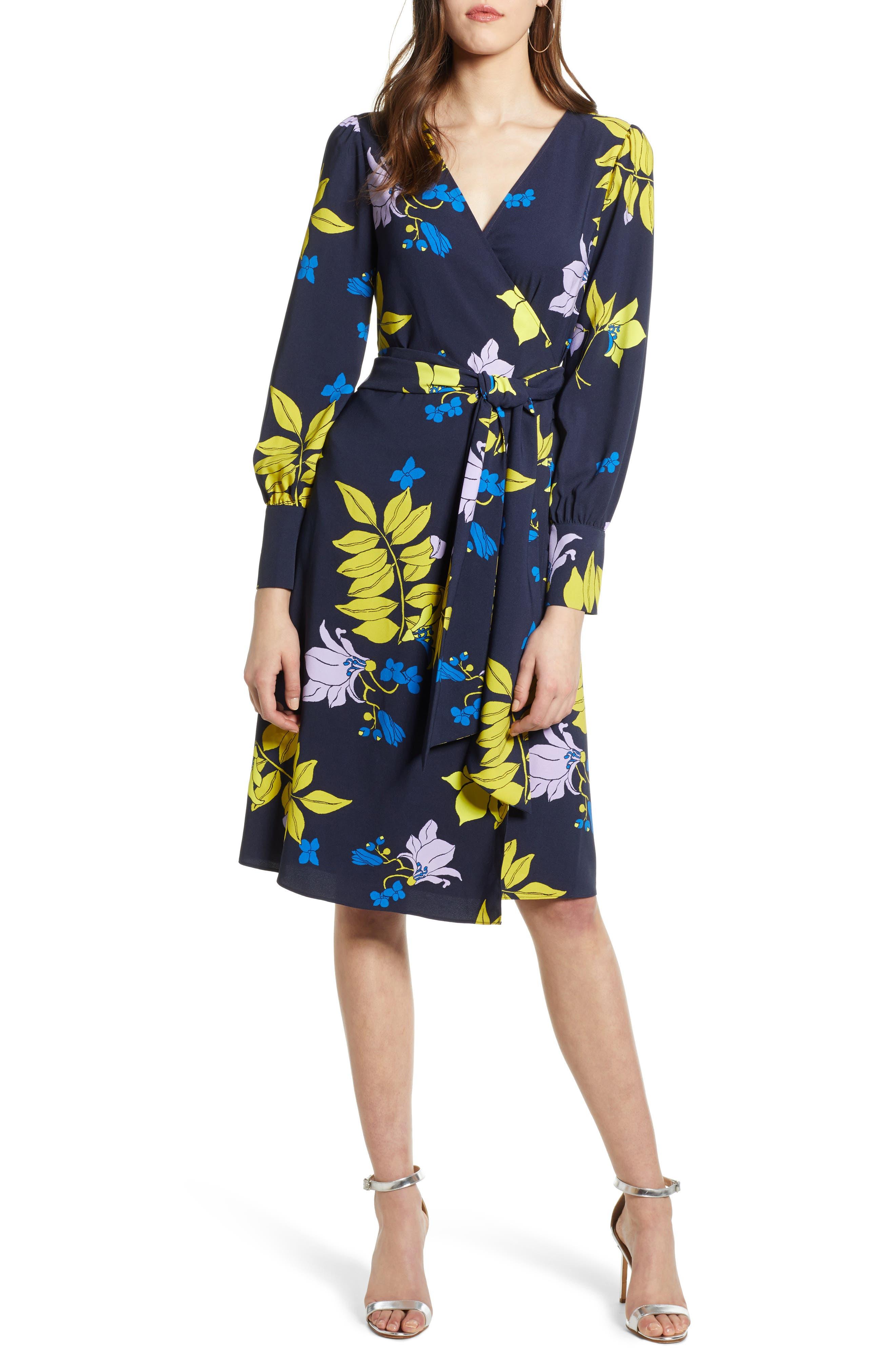 Wrap Dress, Main, color, NAVY NATALIE FLORAL