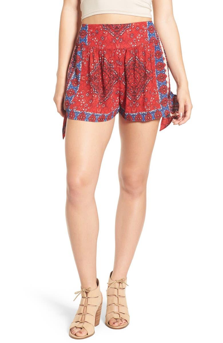 BAND OF GYPSIES Scarf Print Woven Shorts, Main, color, 600