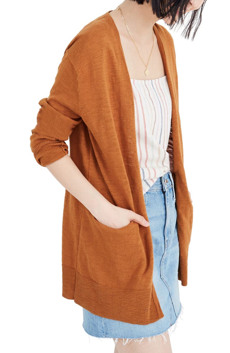 MADEWELL Summer Ryder Cardigan, Main, color, GOLDEN PECAN