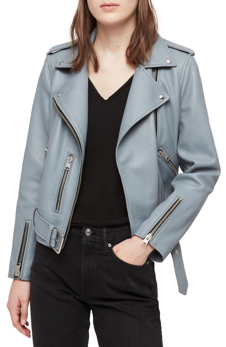 ALLSAINTS Balfern Lambskin Leather Biker Jacket, Main, color, OCEAN BLUE