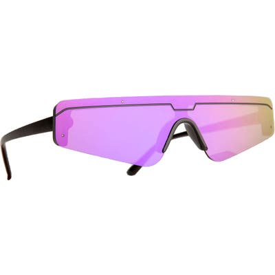 Rad + Refined Cyberfunk Sport Flat Top Shield Sunglasses - Black/ Purple Lens