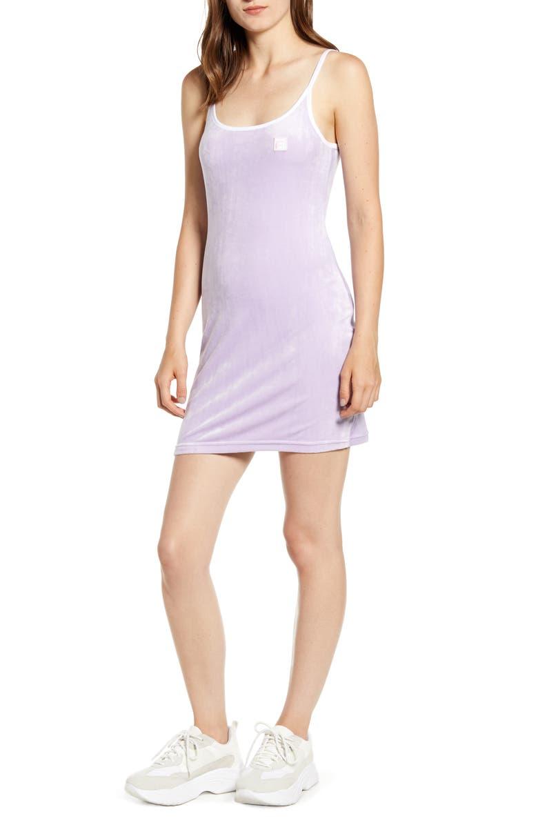 FILA Dylana Velour Minidress, Main, color, PALE LILAC/ WHITE/ PINK CHALK