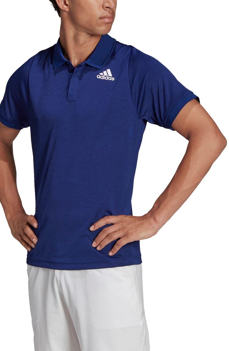 ADIDAS Tennis Freelift Primegreen Performance Polo, Main, color, VICTORY BLUE/ WHITE