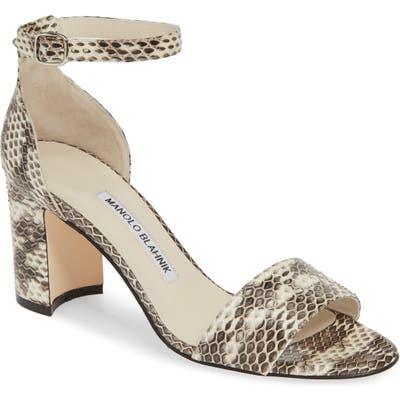 Manolo Blahnik Laurato Genuine Snakeskin Sandal, White