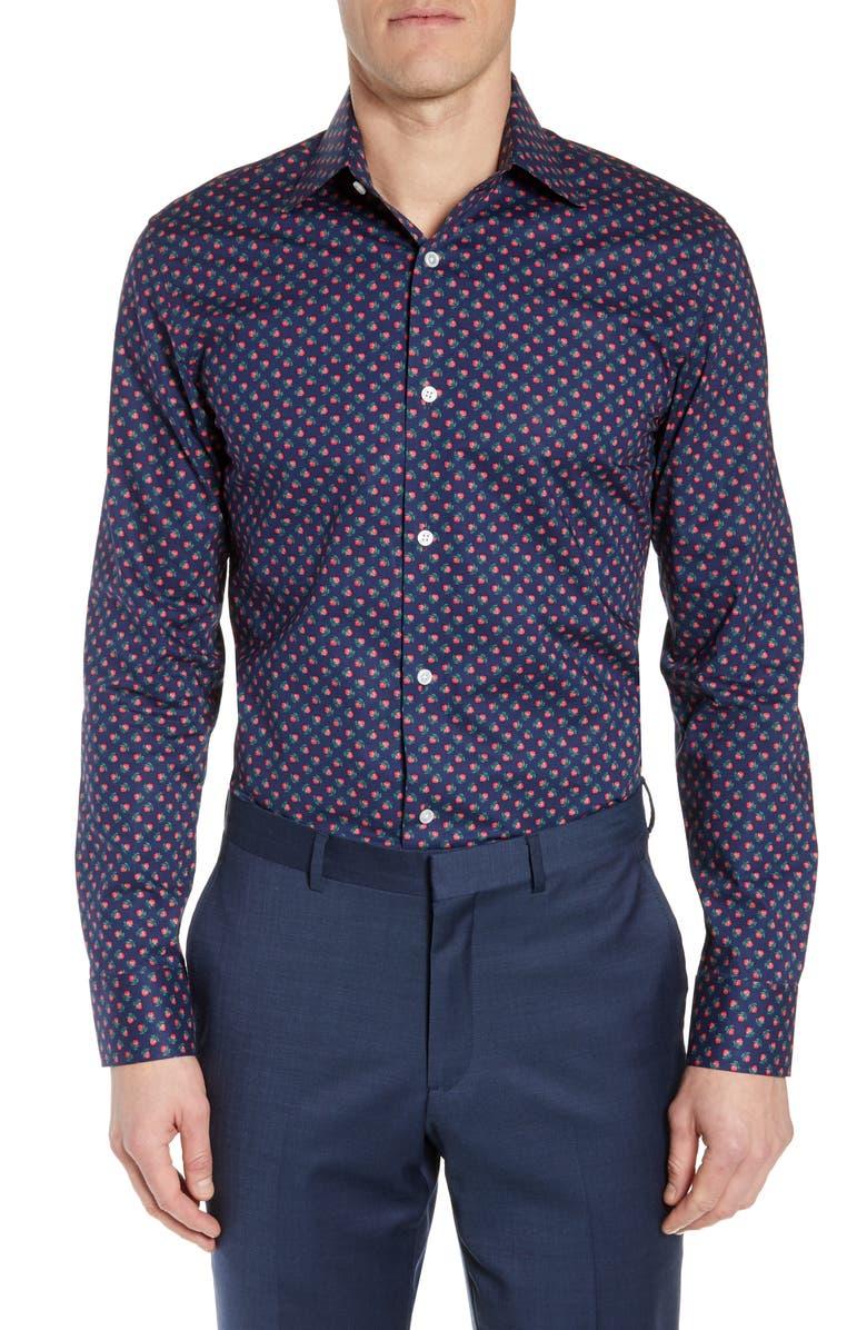 BONOBOS Slim Fit Stretch Rosebud Print Dress Shirt, Main, color, ICED PAPAYA