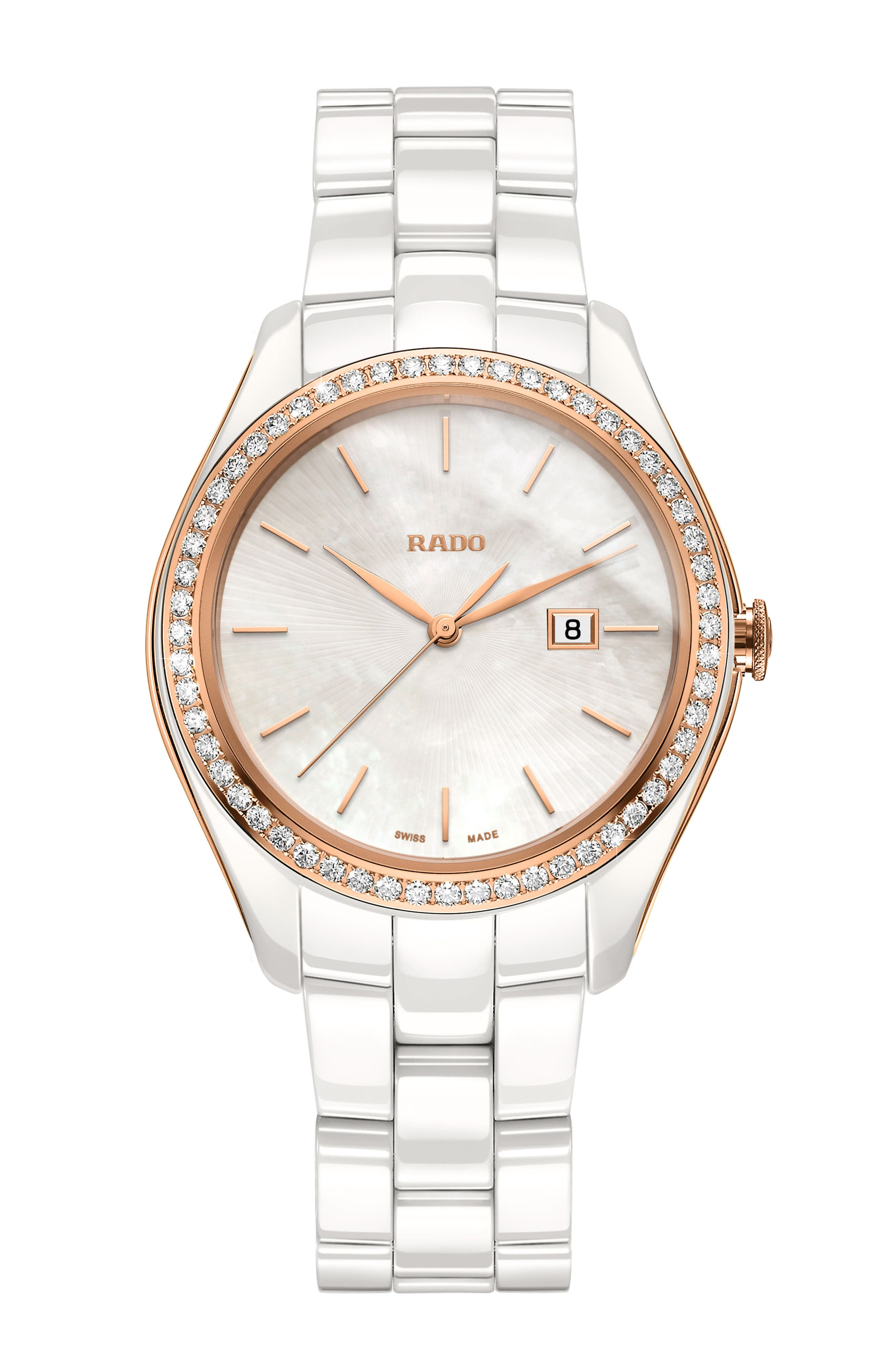 ,                             HyperChrome Automatic Diamond Ceramic Bracelet Watch, 36mm,                             Main thumbnail 1, color,                             WHITE/ MOP/ ROSE GOLD