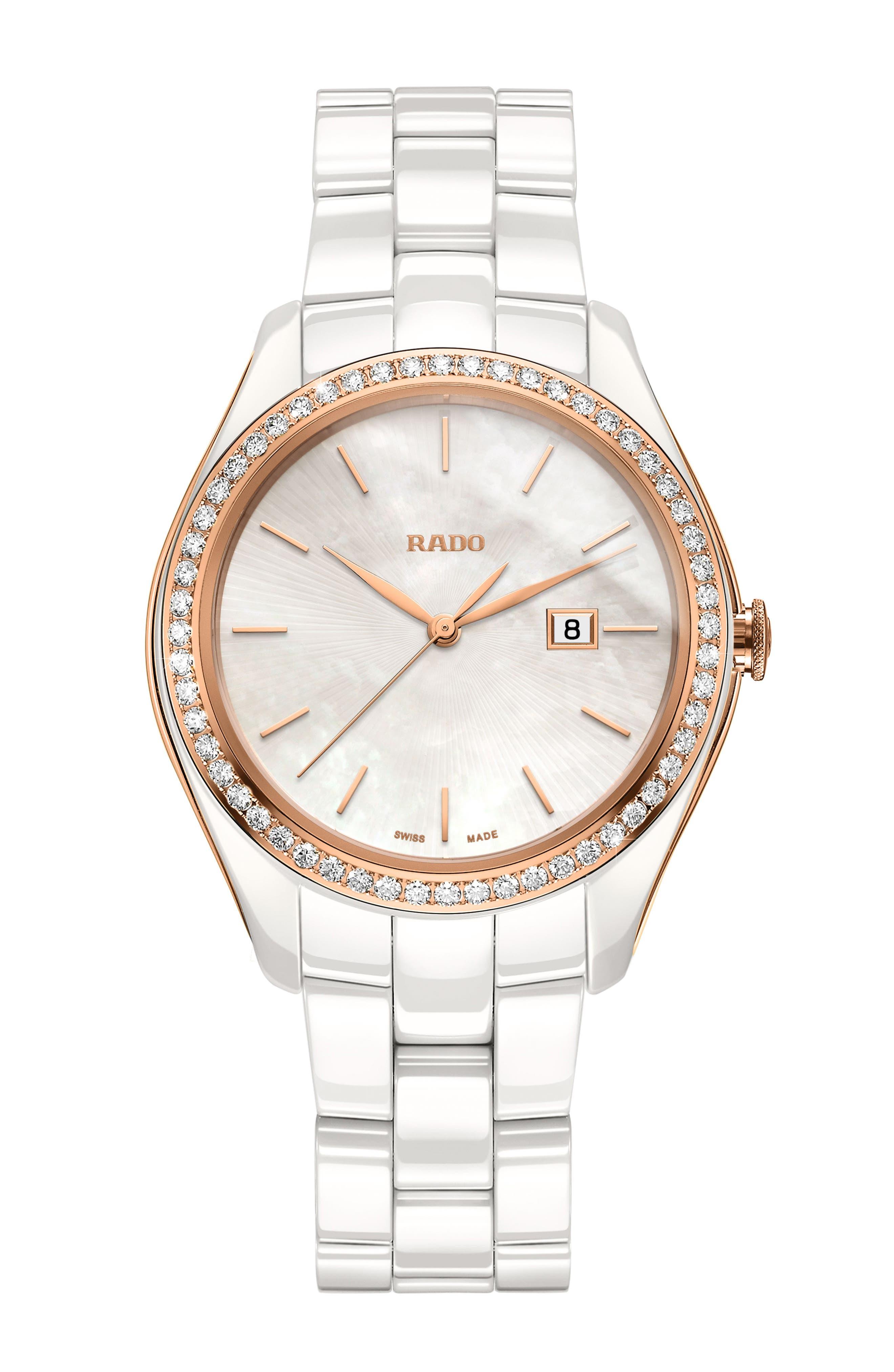 HyperChrome Automatic Diamond Ceramic Bracelet Watch, 36mm, Main, color, WHITE/ MOP/ ROSE GOLD