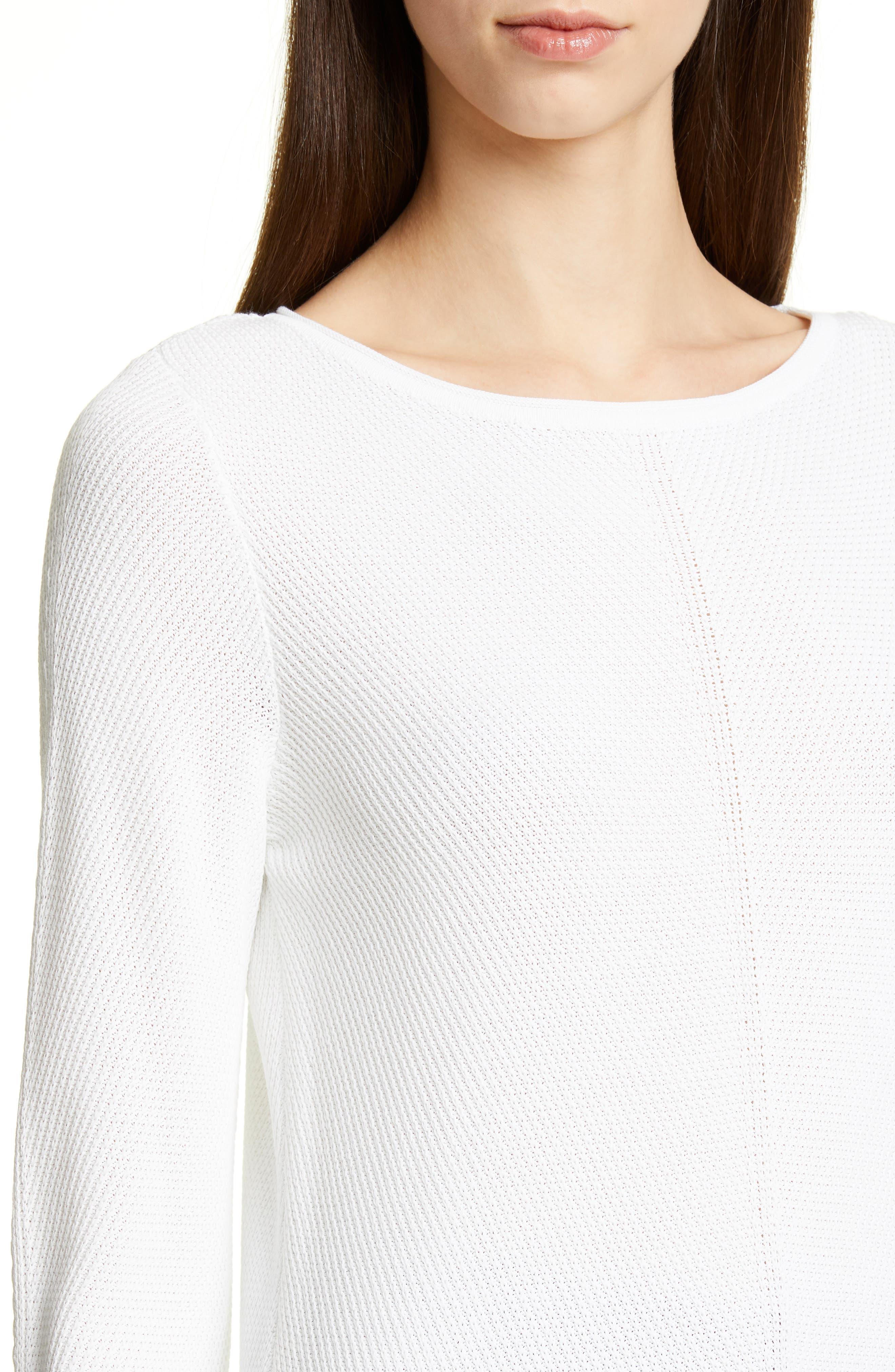 ,                             Chevron Rib Sweater,                             Alternate thumbnail 4, color,                             WHITE
