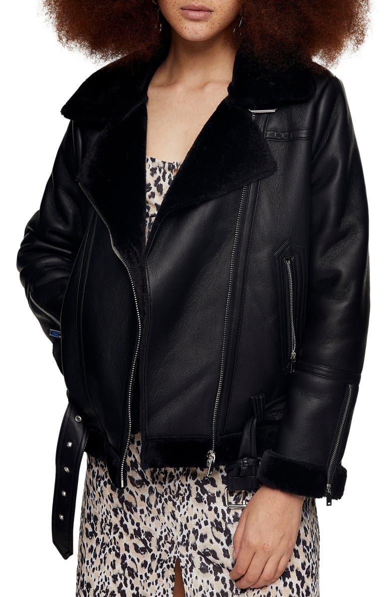 TOPSHOP Faux Fur & Faux Leather Moto Jacket, Main, color, BLACK