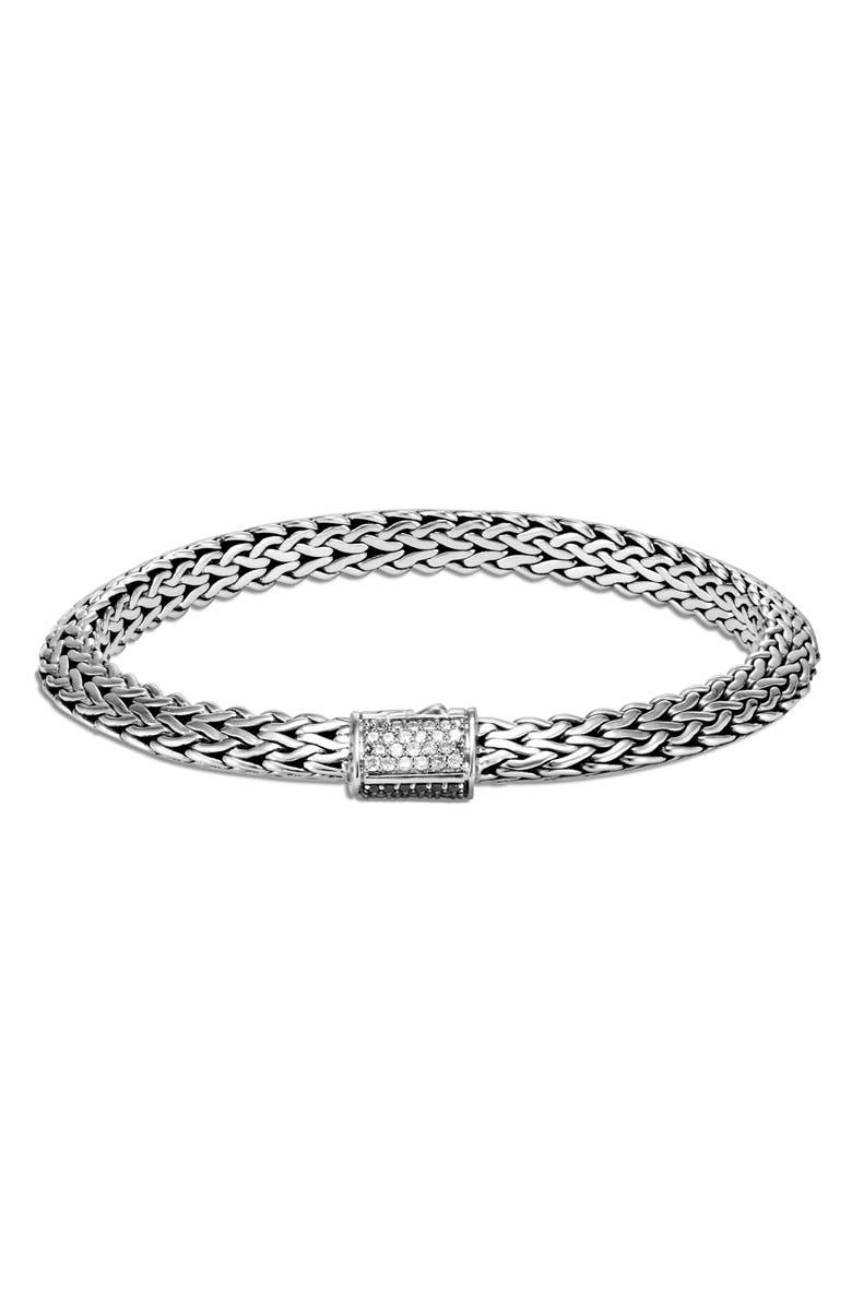 JOHN HARDY Tiga 6.5mm Diamond, Black Sapphire & Black Spinel Clasp Chain Bracelet, Main, color, SILVER/ DIAMOND