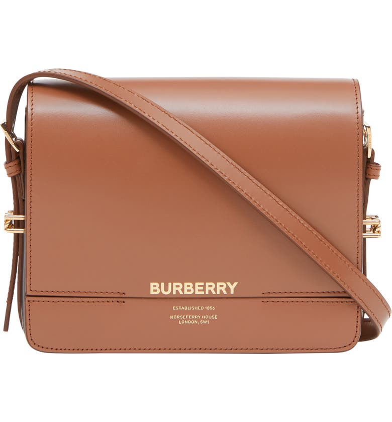 BURBERRY Small Grace Colorblock Leather Crossbody Bag, Main, color, MALT BROWN