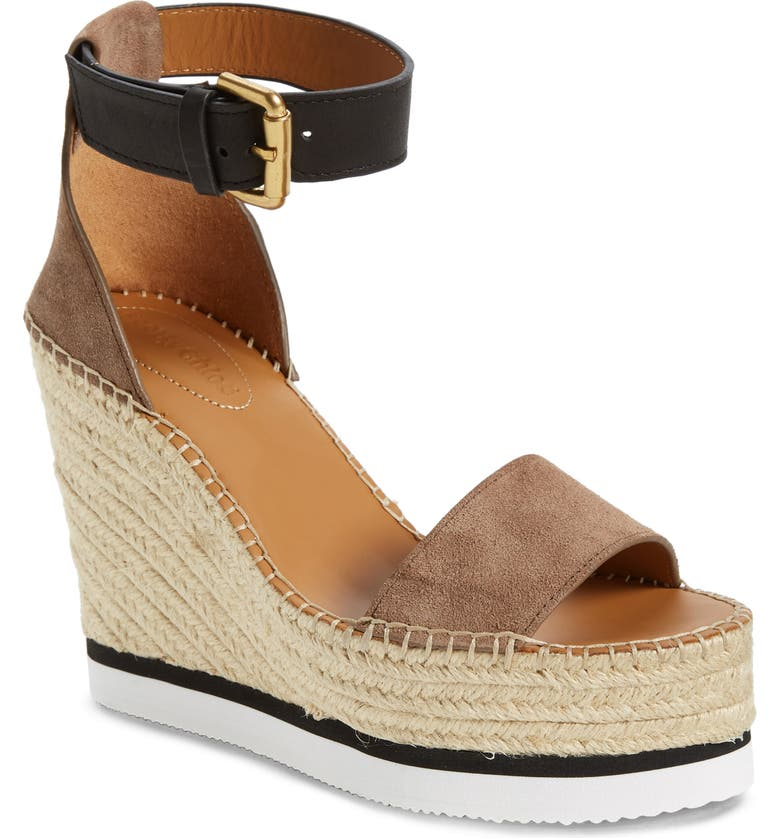SEE BY CHLOÉ 'Glyn' Espadrille Wedge Sandal, Main, color, TAUPE