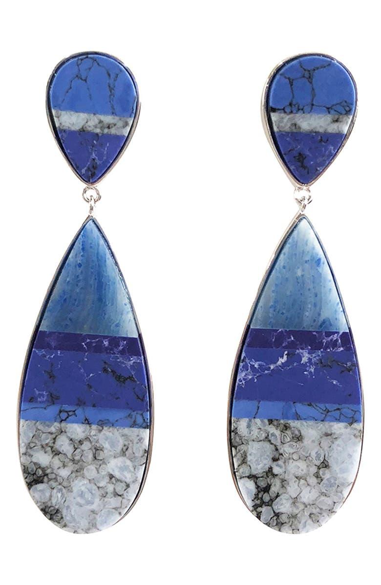MIGNONNE GAVIGAN Sante Fe Stone Drop Earrings, Main, color, BLUE