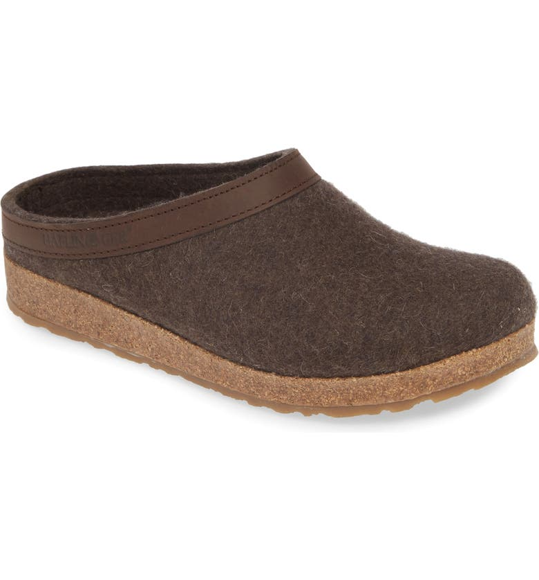 HAFLINGER Grizzly Clog Slipper, Main, color, SMOKEY BROWN