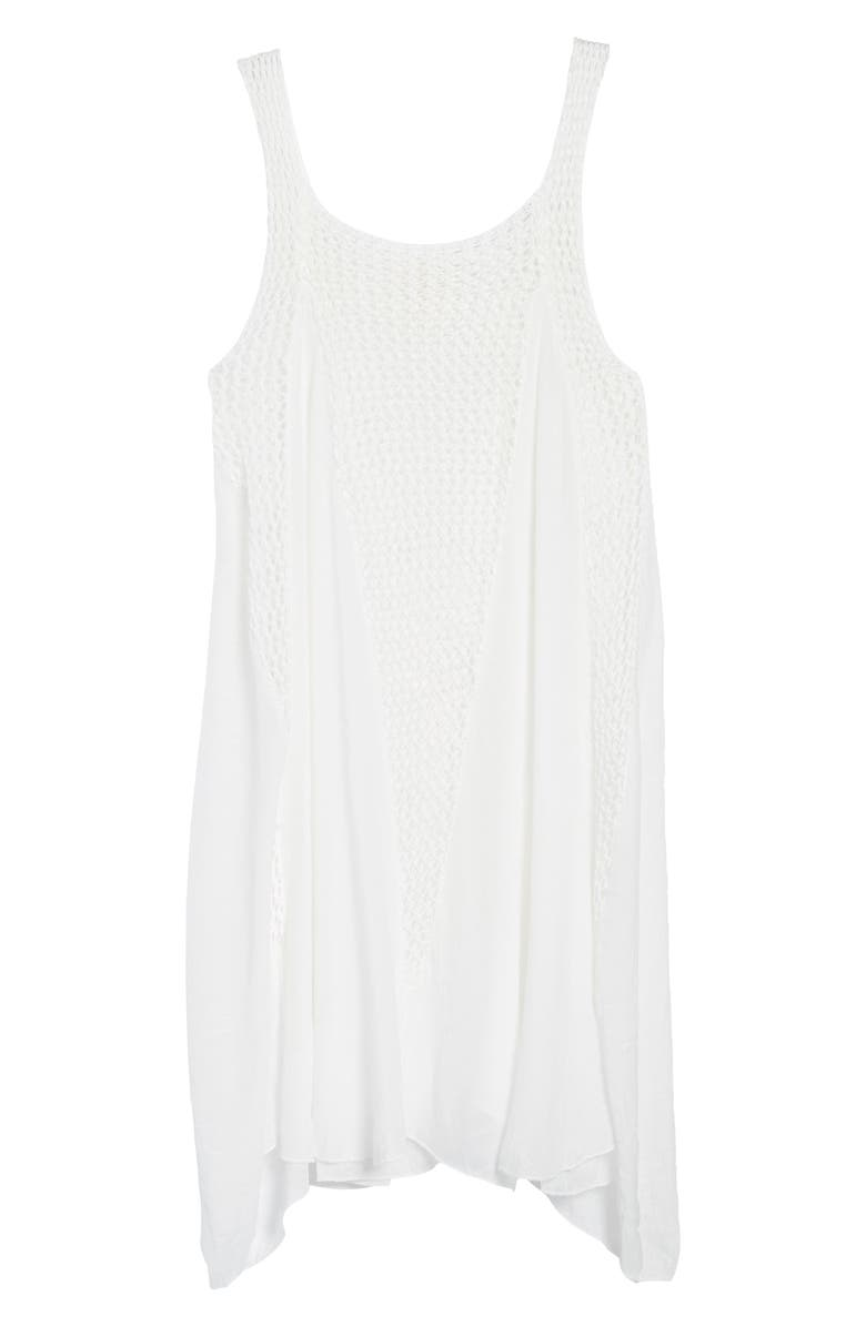 ELAN Crochet Inset Cover-Up Dress, Main, color, WHITE