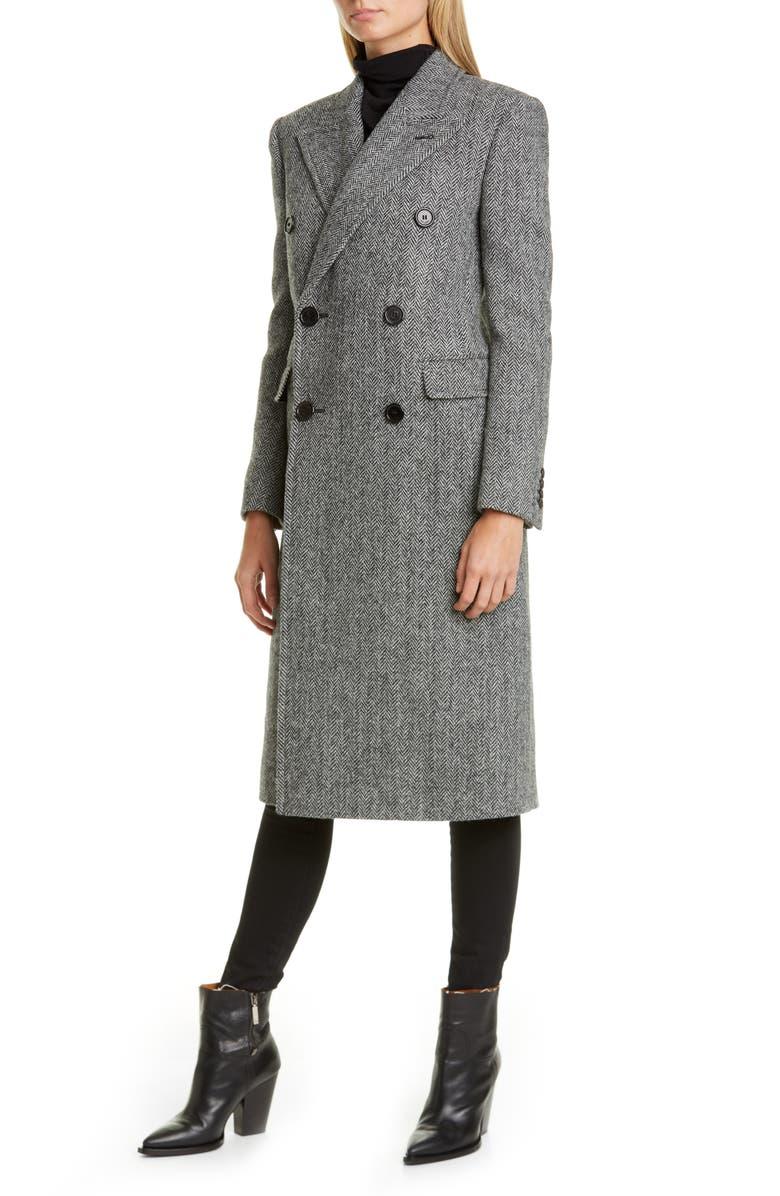 SAINT LAURENT Notch Collar Wool Coat, Main, color, NOIR BLANC