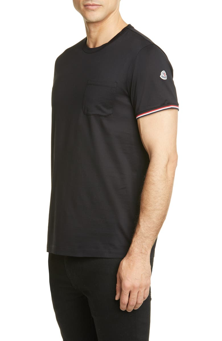 MONCLER Crewneck T-Shirt, Main, color, BLACK