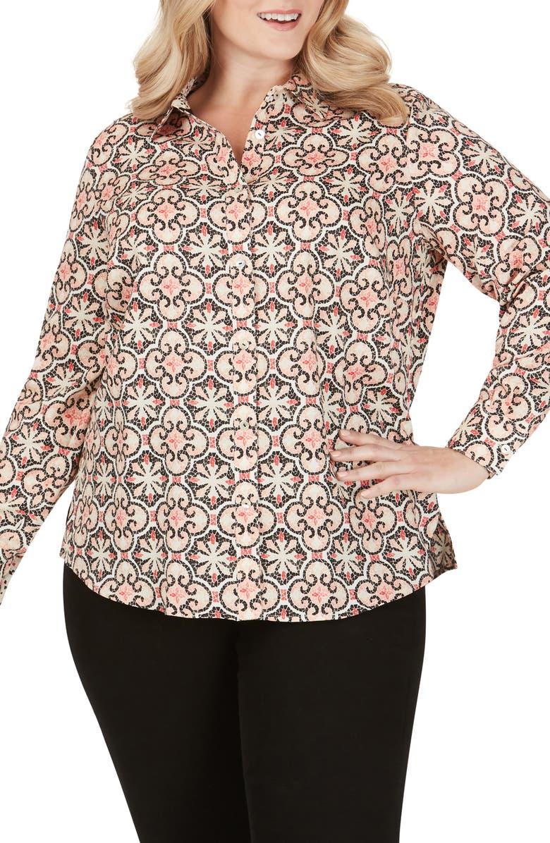 FOXCROFT Ava Mosaic Print Wrinkle Free Shirt, Main, color, MULTI