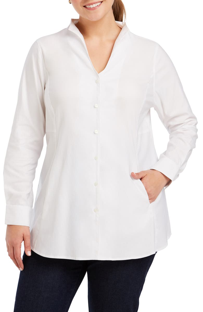 FOXCROFT Selma Stretch Tunic Shirt, Main, color, WHITE