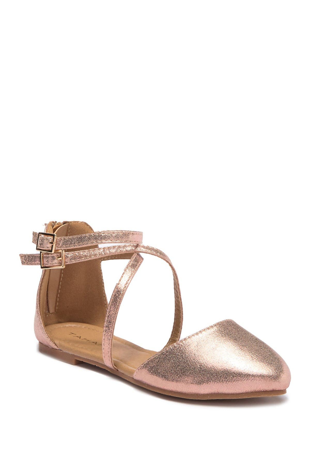 Image of Tahari Double Buckle Almond Toe Flat