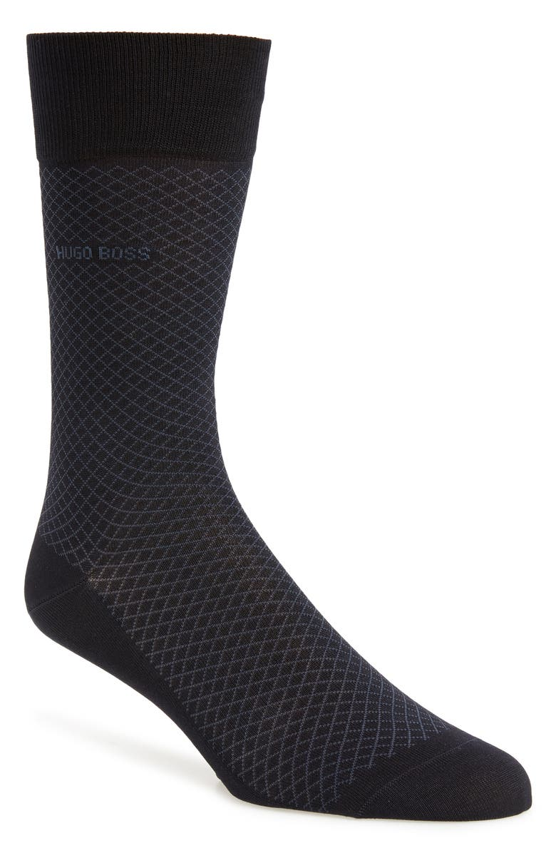 BOSS Dean Diamond Dress Socks, Main, color, BLUE