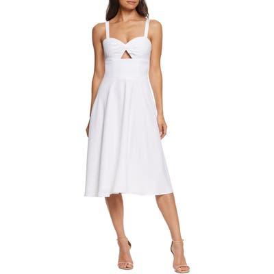 Dress The Population Bianca Sweetheart Midi Cocktail Dress, White