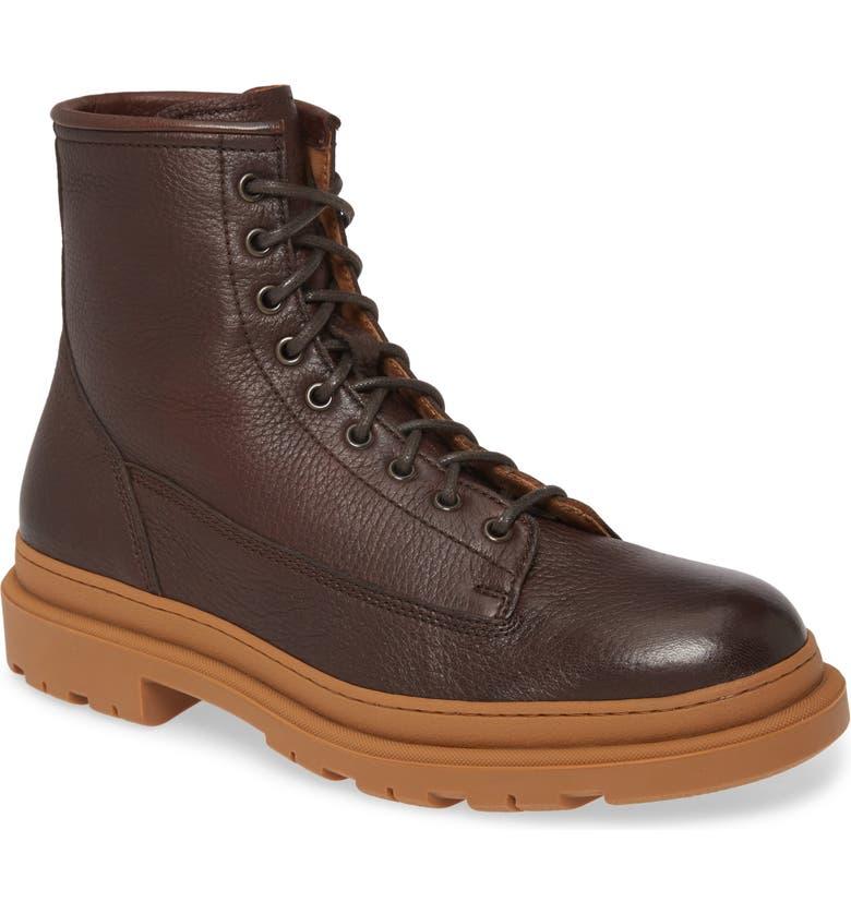 BRUNELLO CUCINELLI Cap Toe Boot, Main, color, DARK BROWN