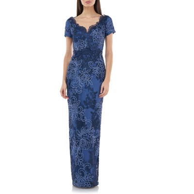 Js Collections Soutache Lace Column Gown, Blue