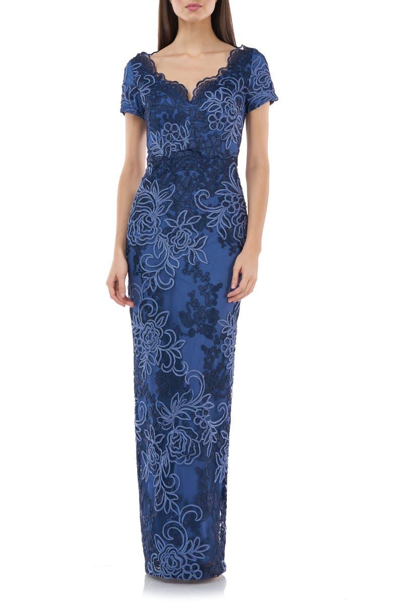 JS COLLECTIONS Soutache Lace Column Gown, Main, color, 452