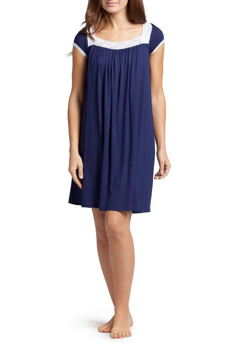 SAVI MOM The Lace Maternity/Nursing Nightgown, Main, color, ESTATE BLUE