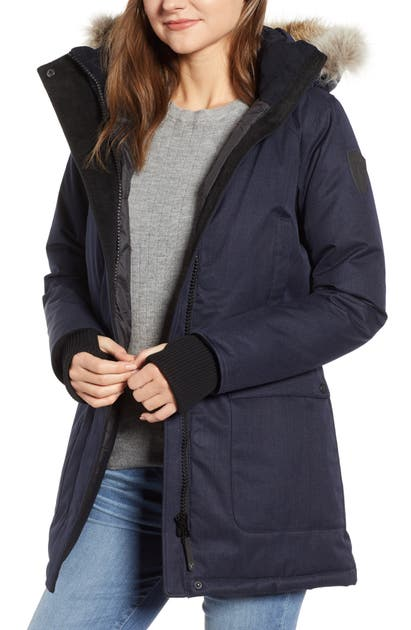 Nobis Carla Hooded Down Parka With Genuine Coyote Fur Trim In Navy