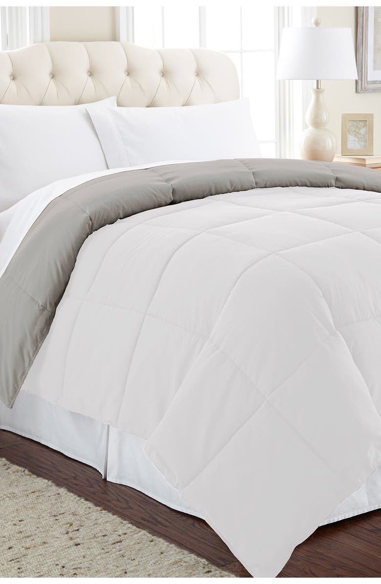 MODERN THREADS Queen Down Alternative Reversible Comforter - White/Grey, Main, color, WHITE/GRAY