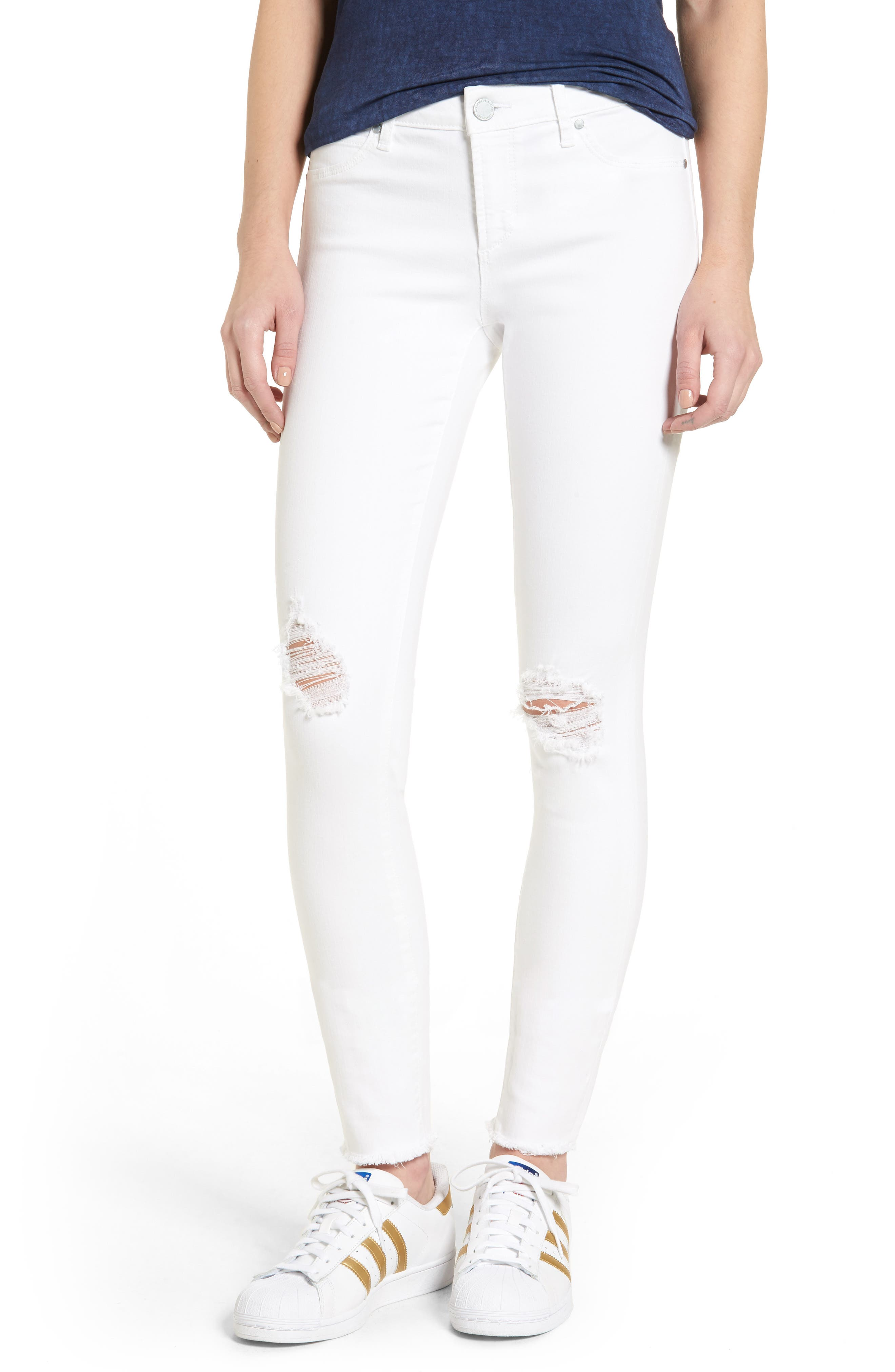 ,                             Sarah Distressed Skinny Jeans,                             Main thumbnail 1, color,                             100