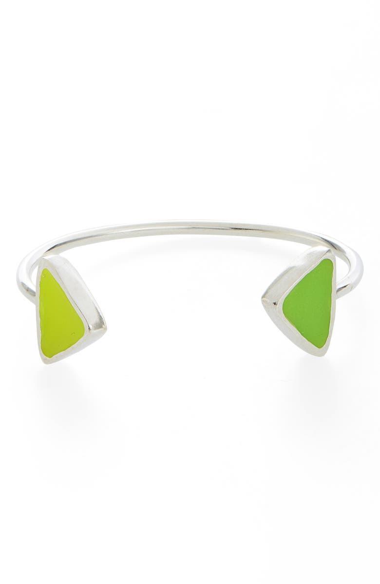 STUDIOSOPHIASOPHIA Triangle Sterling Silver Cuff Bracelet, Main, color, LIME GREEN/ NEON YELLOW