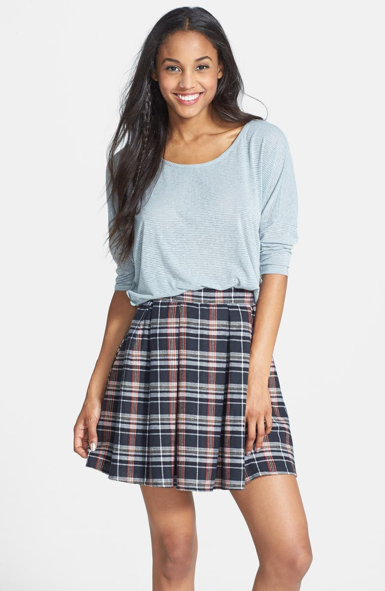MIMI CHICA Plaid Pleat Skirt, Main, color, 001