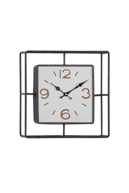 """Image of Willow Row Metal Cage Square Wall Clock, 12"""" x 12"""""""
