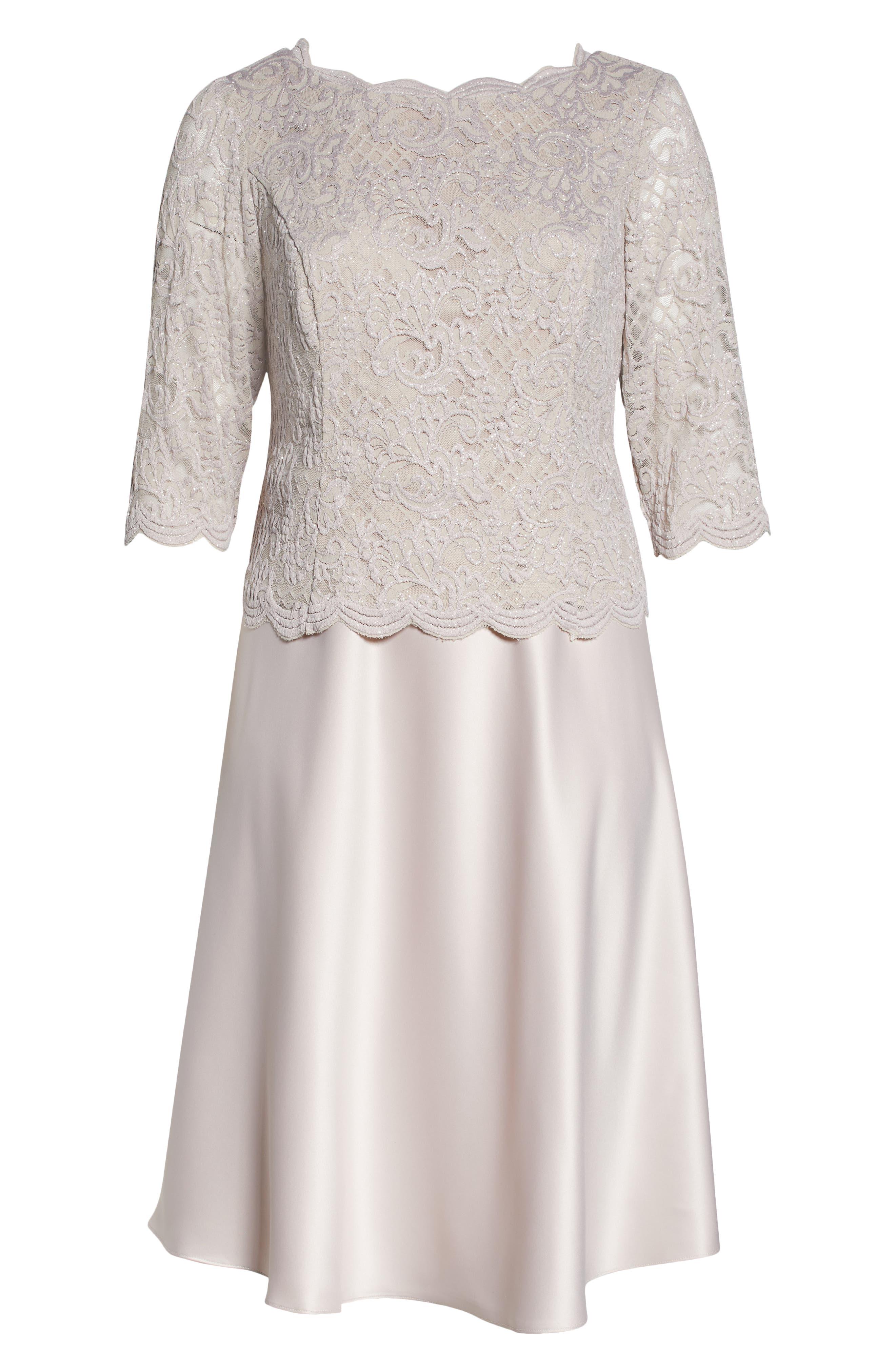 Brocade Bodice Cocktail Midi Dress