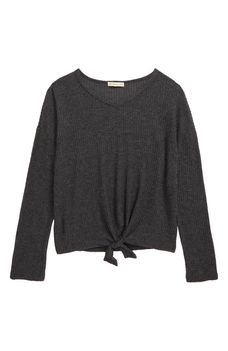 TUCKER + TATE Coziest Ever Waffle Top, Main, color, GREY MEDIUM CHARCOAL HEATHER