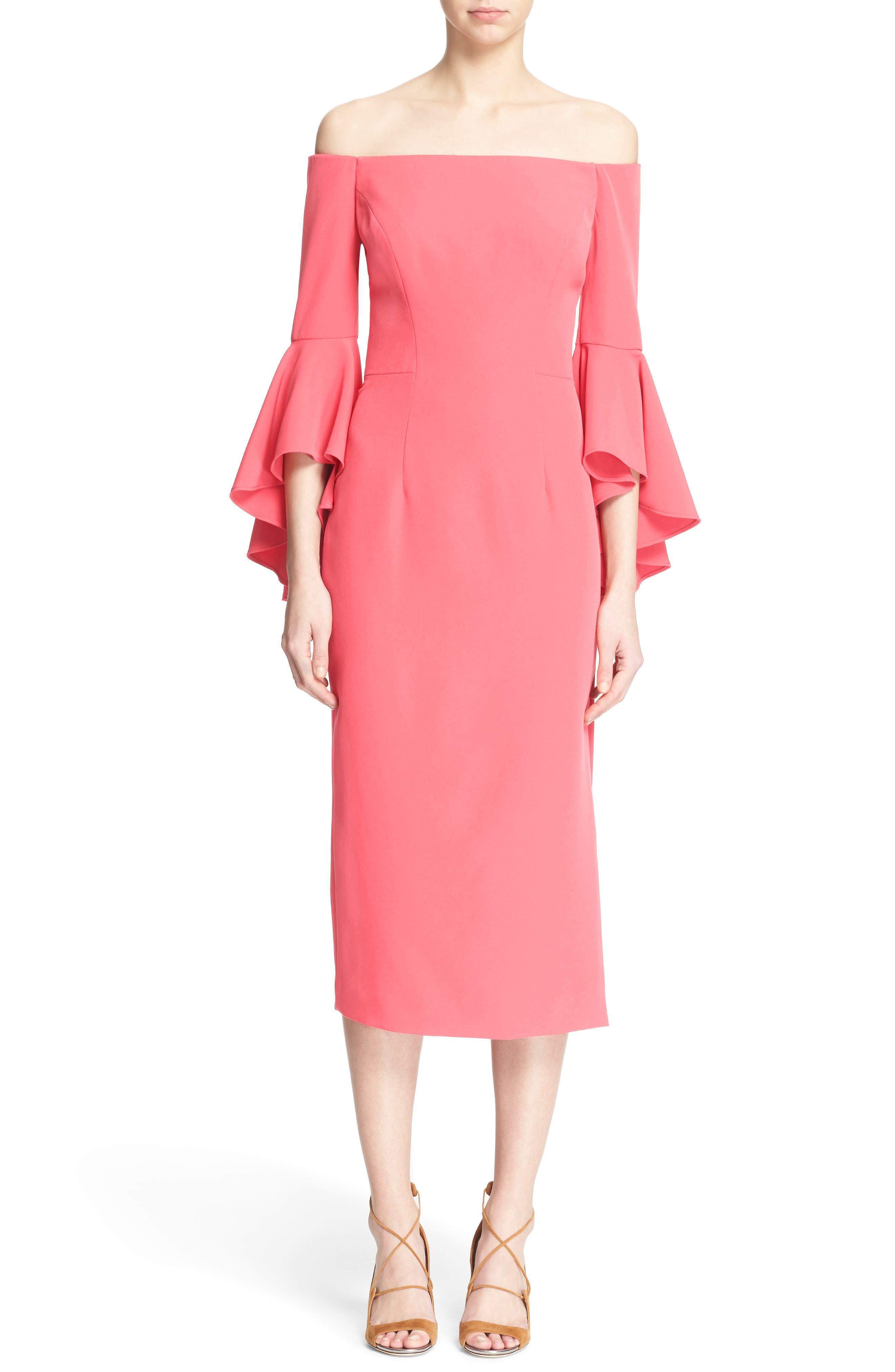 ,                             Selena Off the Shoulder Midi Dress,                             Alternate thumbnail 55, color,                             677