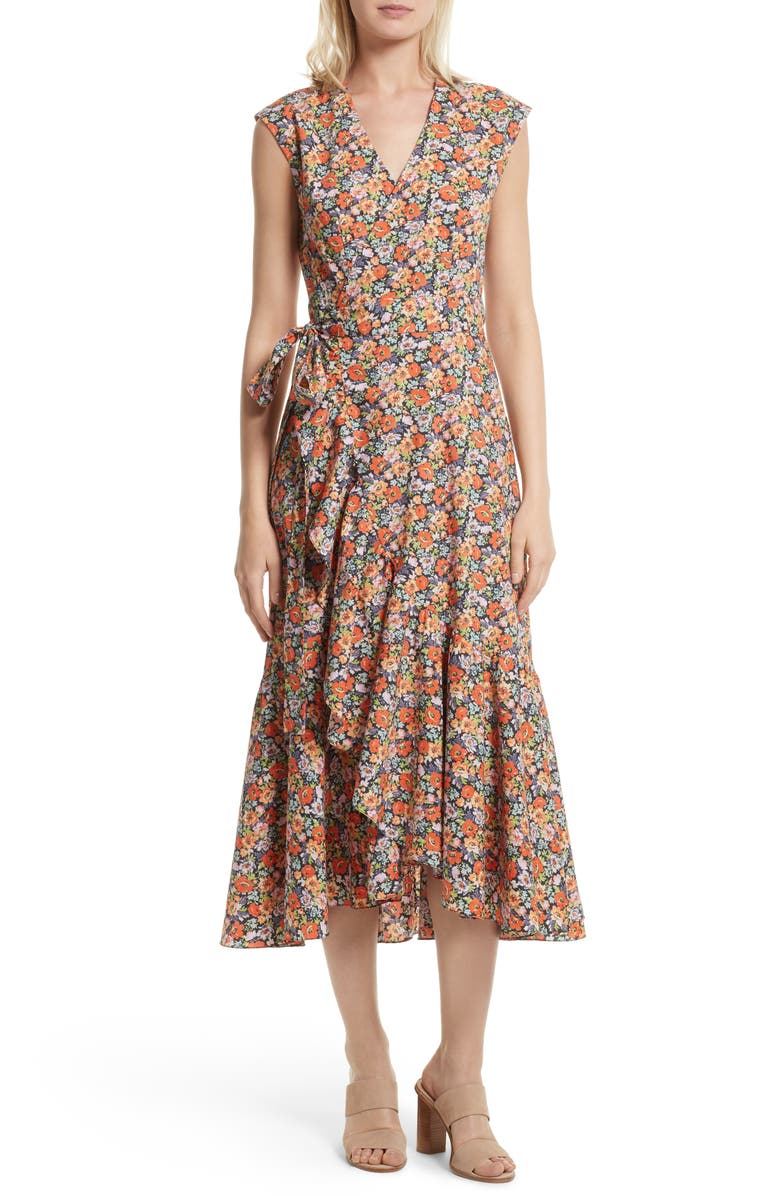 REBECCA TAYLOR Moonlight Print Poplin Ruffle Wrap Dress, Main, color, 813
