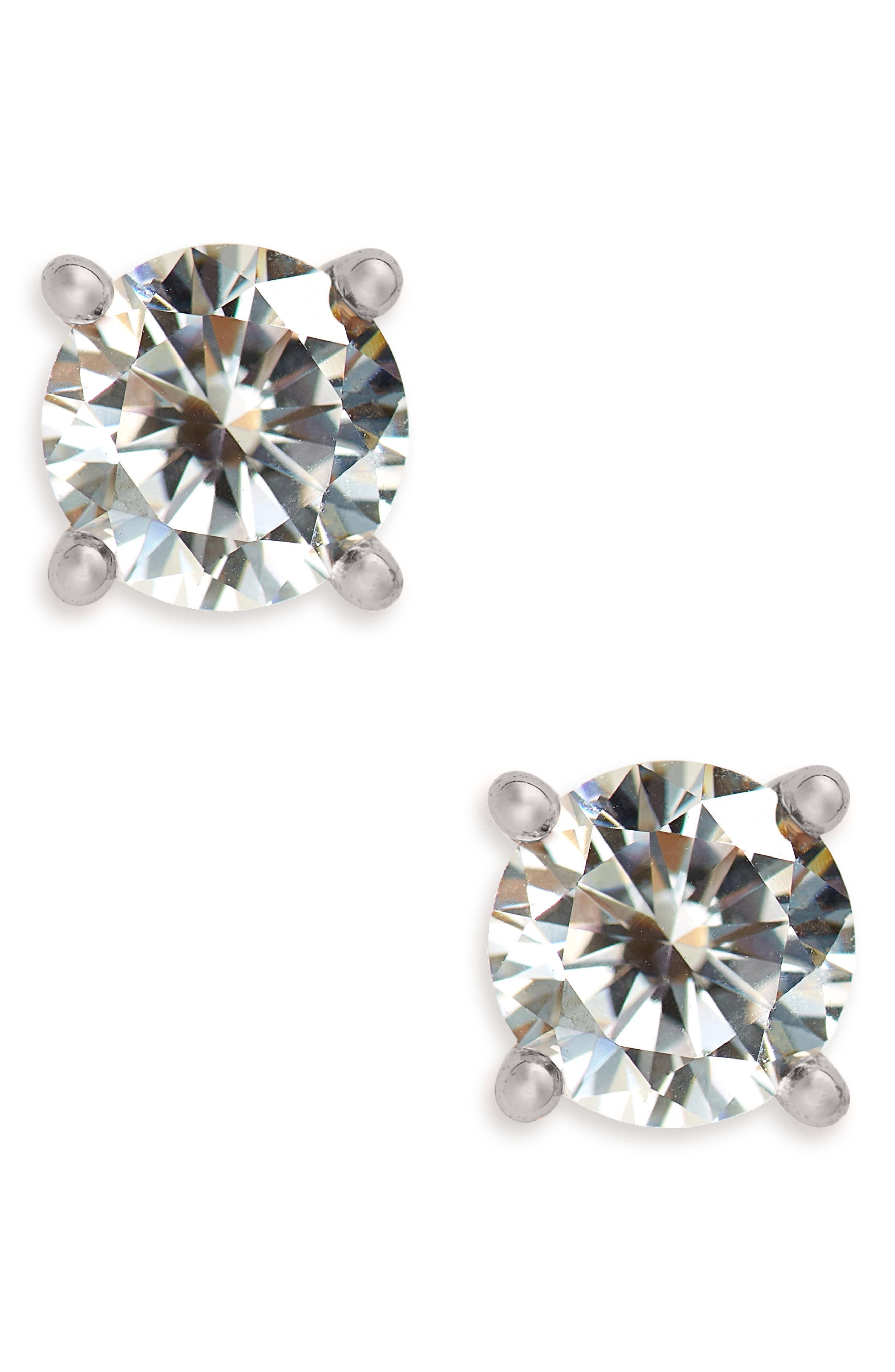 Cubic Zirconia Stud Earrings, Main, color, CLEAR- SILVER