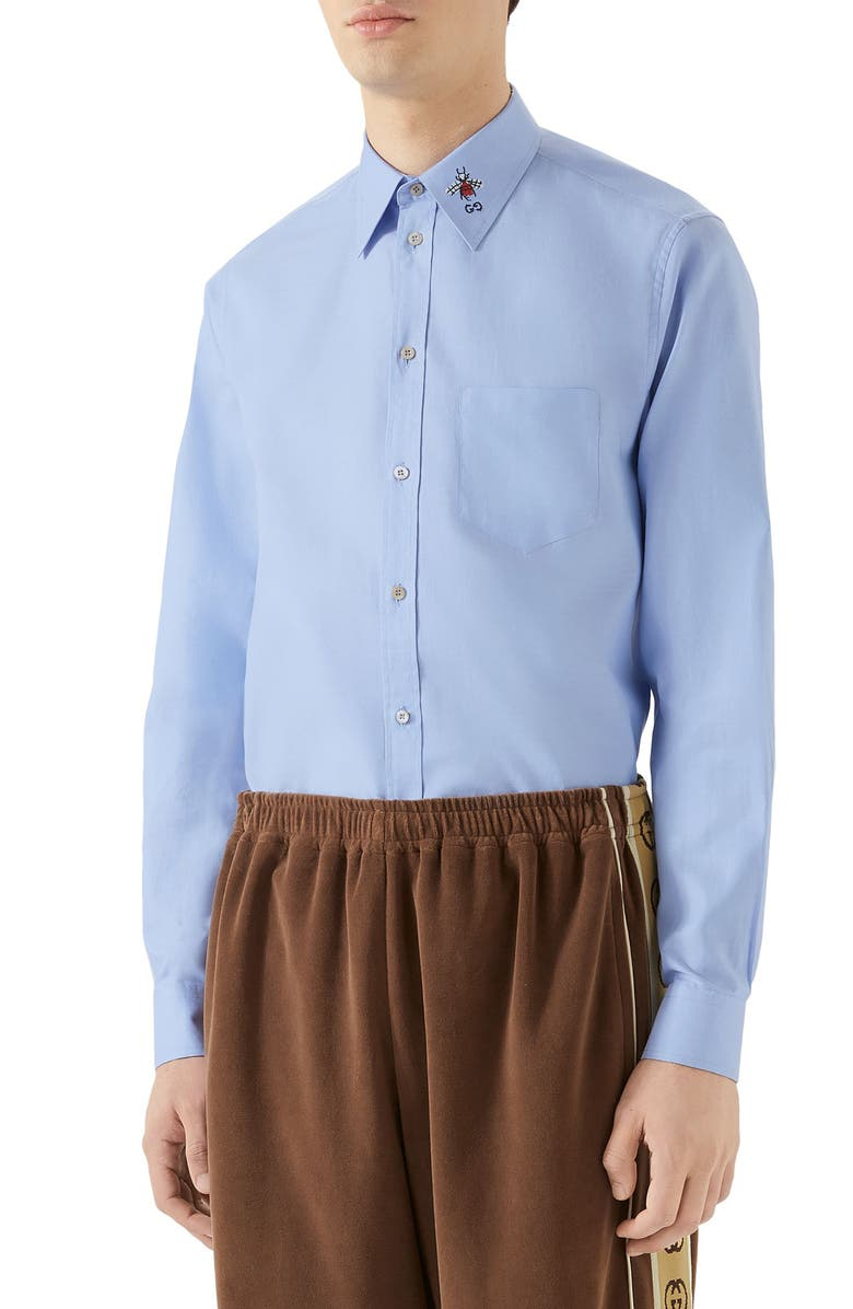 GUCCI Bee & GG Embroidered Oxford Shirt, Main, color, SKY BLUE