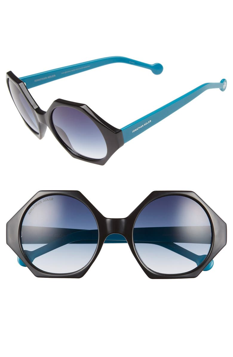 JONATHAN ADLER 'Waikiki' 55mm Hexagonal Sunglasses, Main, color, 001