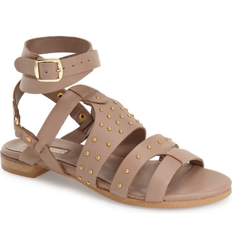 TOPSHOP 'Flame' Stud Wraparound Ankle Strap Sandal, Main, color, 250