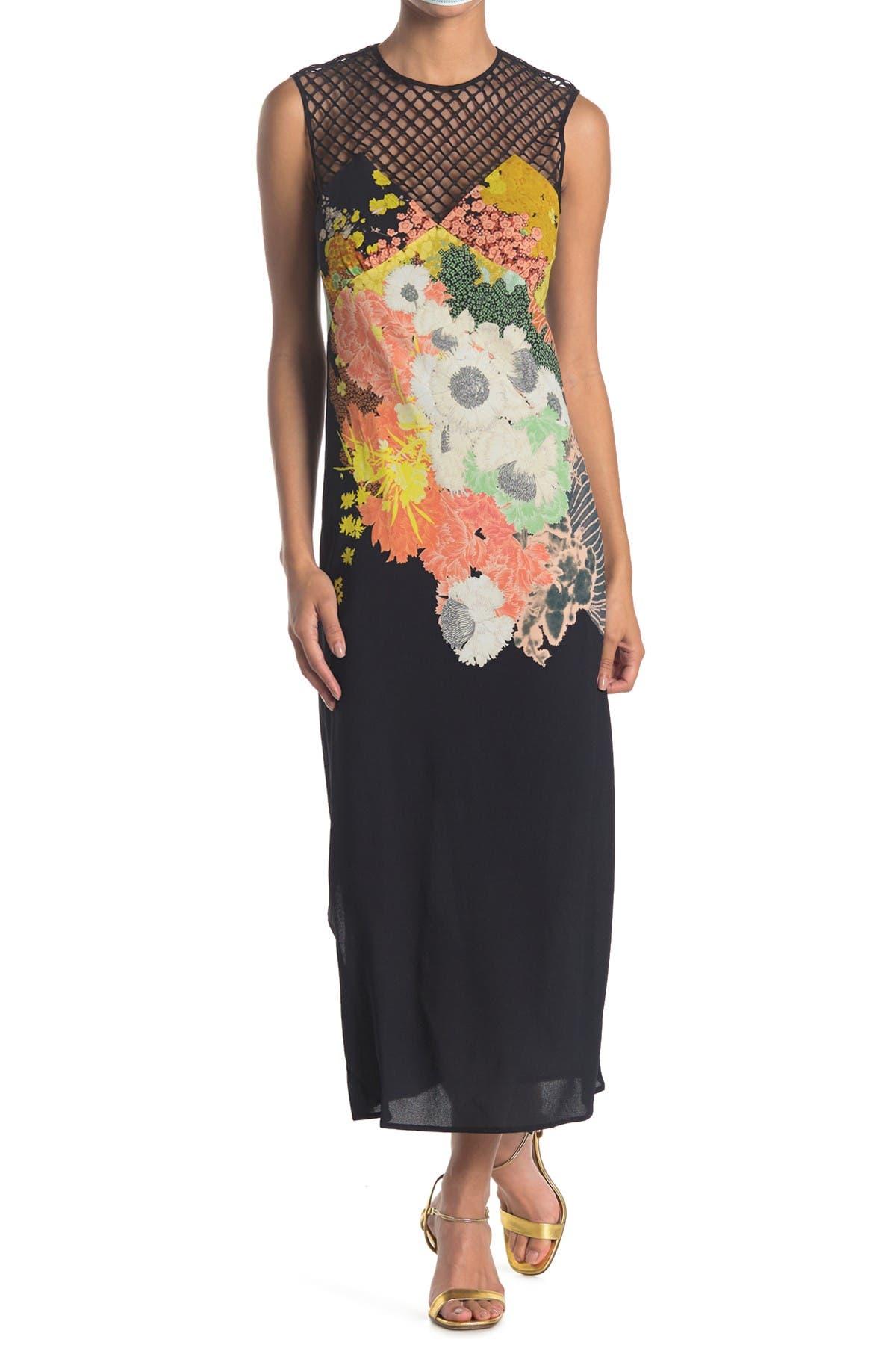 Image of DRIES VAN NOTEN Mesh Yoke Floral Maxi Dress