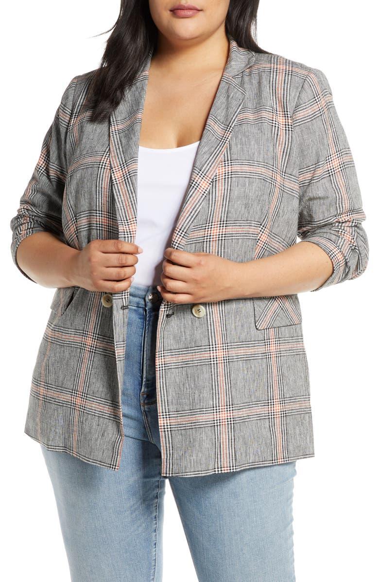 1.STATE Linen Single Button Blazer, Main, color, RICH BLACK