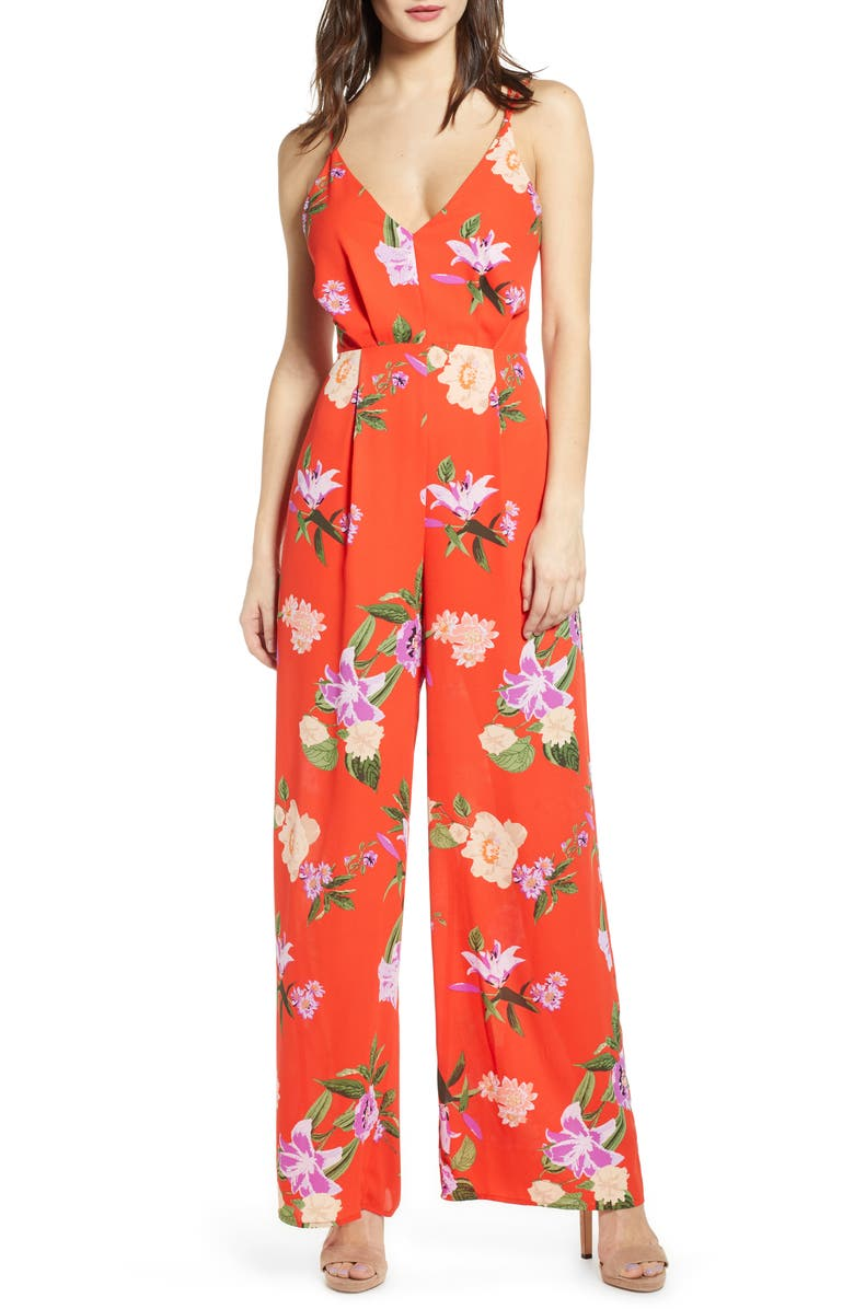 ASTR THE LABEL Floral Strappy Back Jumpsuit, Main, color, 600