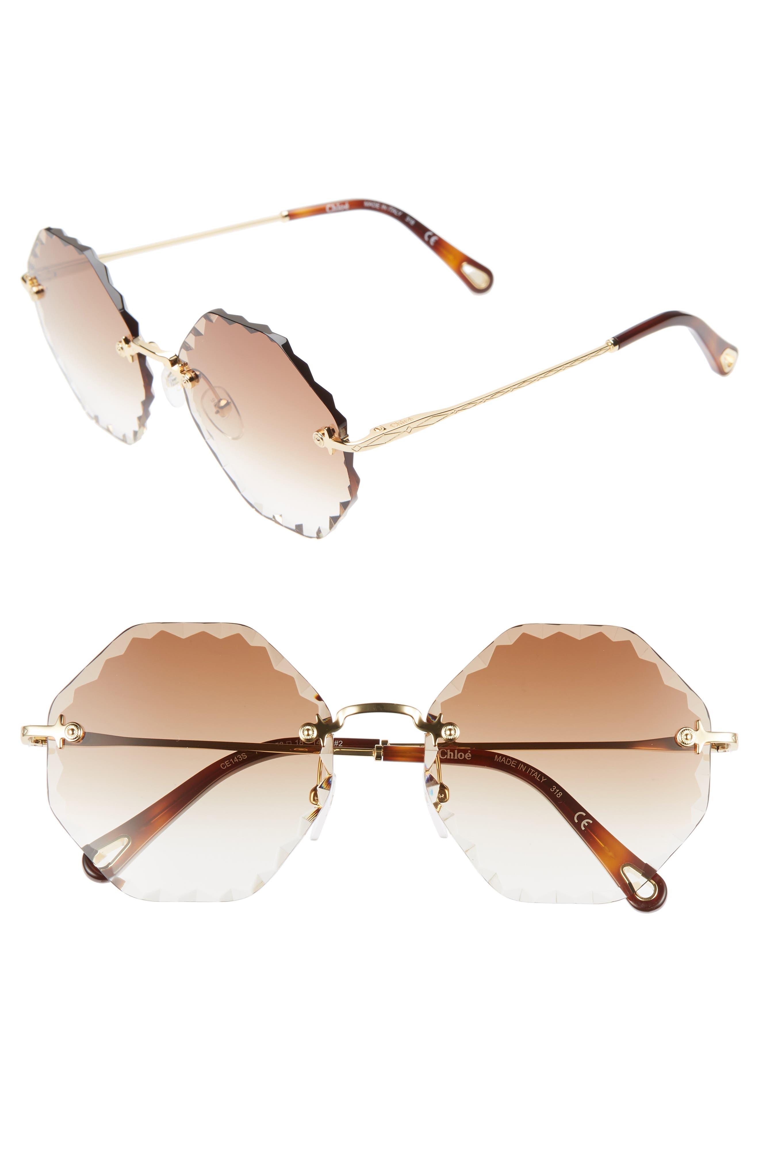 Chloe Rosie 5m Gradient Octagonal Rimless Sunglasses - Gold/ Gradient Brown