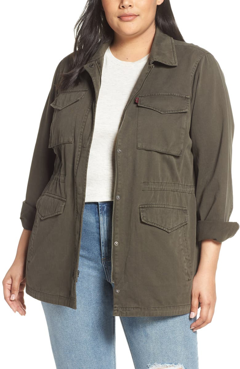 LEVI'S<SUP>®</SUP> Cotton Oversize Military Jacket, Main, color, OLIVE