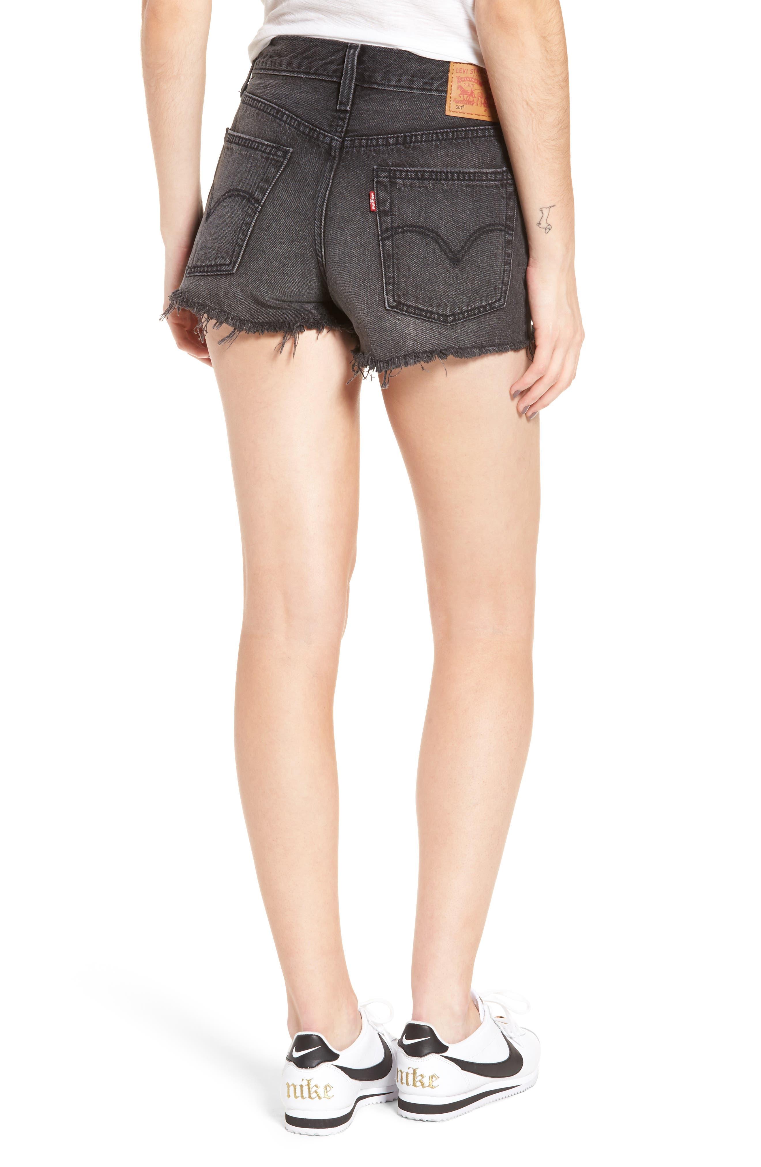 ,                             501<sup>®</sup> Cutoff Denim Shorts,                             Alternate thumbnail 2, color,                             TRASHED BLACK